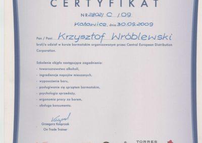 Krisstek - Certyfikat - Barman