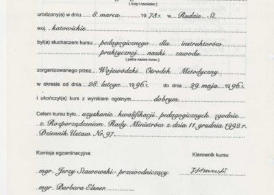 Krisstek - Certyfikat - Dyplom pedagoga.