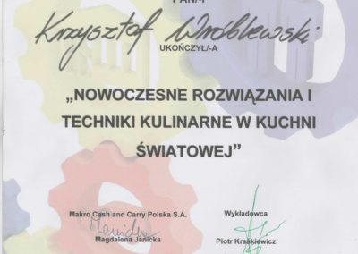 Krisstek - Certyfikat - Nowoczesne rozwiązania i techniki kulinarne w kuchni światowej