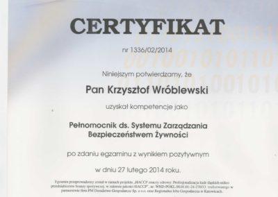 Krisstek - Certyfikat - Pełnomocnik ds. Systemu Zarządzania Bezpieczeństwem Żwyności