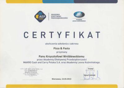 Krisstek - Certyfikat - Pizza & Pasta