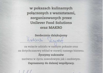 Krisstek - Certyfikat - Pokazy kulinarne