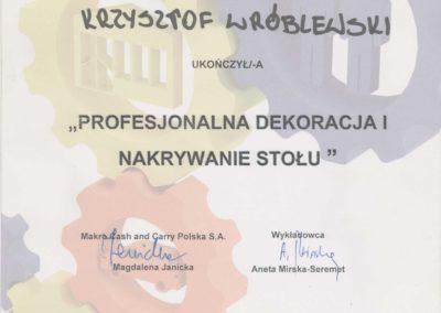 Krisstek - Certyfikat - Profesjonalna dekoracja i nakrywanie stołu