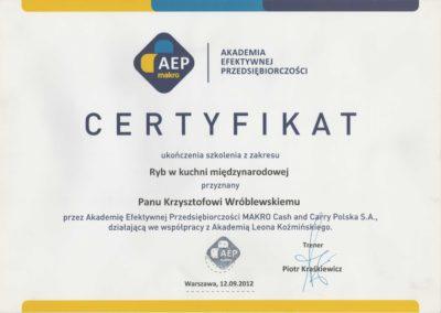 Krisstek - Certyfikat - Ryby w kuchni międzynarodowej