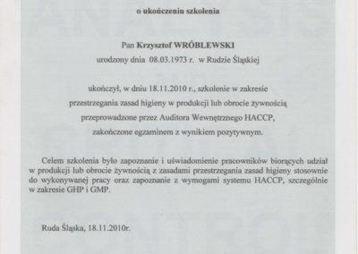 Krisstek - Certyfikat - System HACCP