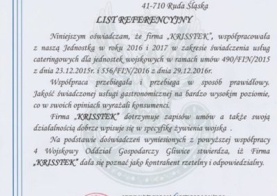 Restauracja Akwarium - List referencyjny - 4 Wojskowy Oddział Gospodarczy